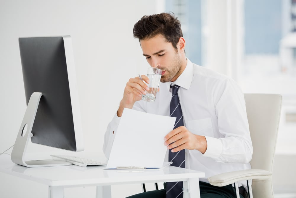 drink water in the office